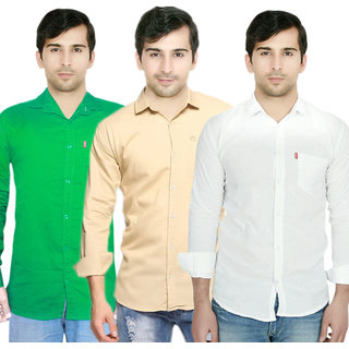 Knight Riders Pack Of 3 Plain Casual Slimfit Poly-Cotton ShirtsGreenCreamWhite