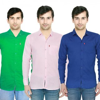 Knight Riders Pack Of 3 Plain Casual Slimfit Poly-Cotton ShirtsGreenPinkBlue