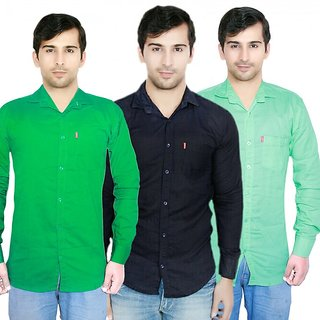 Knight Riders Pack Of 3 Plain Casual Slimfit Poly-Cotton ShirtsBlackLight greenGreen