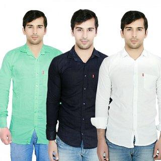 Knight Riders Pack Of 3 Plain Casual Slimfit linen ShirtsWhiteNavyLight green