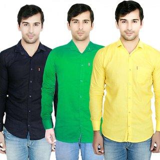 Knight Riders Pack Of 3 Plain Casual Slimfit Poly-Cotton ShirtsNavyGreenYellow
