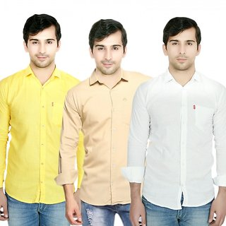 Knight Riders Pack Of 3 Plain Casual Slimfit Poly-Cotton ShirtsYellowCreamWhite