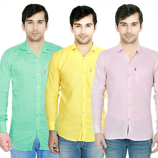 Knight Riders Pack Of 3 Plain Casual Slimfit Poly-Cotton ShirtsLight greenYellowPink