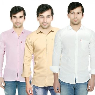 Knight Riders Pack Of 3 Plain Casual Slimfit Poly-Cotton ShirtsPinkCreamWhite
