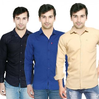 Knight Riders Pack Of 3 Plain Casual Slim fit Shirts(Navy Blue Cream)