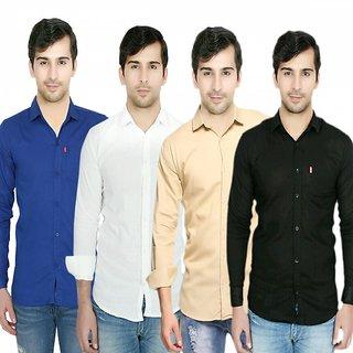 Knight Riders Pack Of 4 Plain Casual Slimfit Poly-Cotton ShirtsWhiteBlackBlueCream