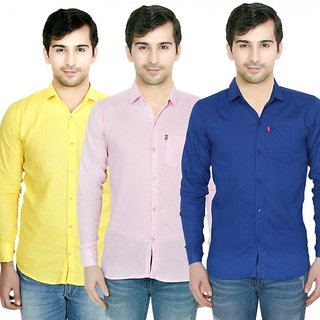Knight Riders Pack Of 3 Plain Casual Slimfit Poly-Cotton ShirtsYellowPinkBlue