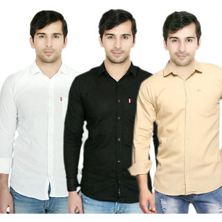 Knight Riders Pack Of 3 Plain Casual Slimfit Poly-Cotton ShirtsWhiteBlackCream