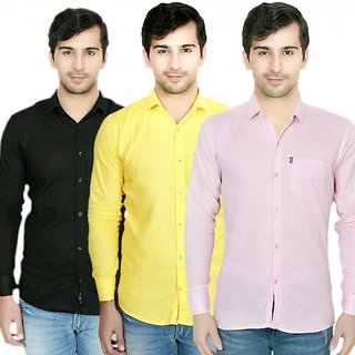 Knight Riders Pack Of 3 Plain Casual Slimfit linen ShirtsBlackYellowPink