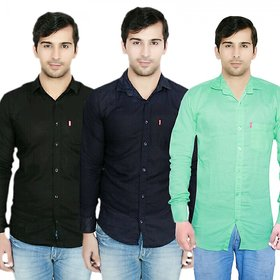 Knight Riders Pack Of 3 Plain Casual Slimfit linen ShirtsBlackNavyLight green