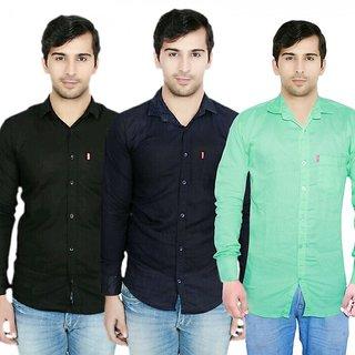 Knight Riders Pack Of 3 Plain Casual Slimfit Poly-Cotton ShirtsBlackNavyLight green