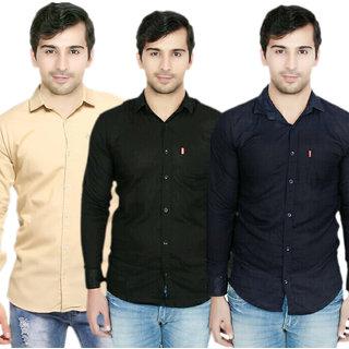 Knight Riders Pack Of 3 Plain Casual Slimfit Poly-Cotton ShirtsCreamBlackNavy