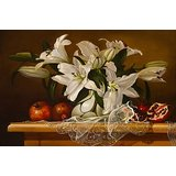 Wall Decor White Lillies In A Flowervase Art In Still Life Printed Canvas