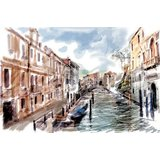 Wall Decor Lanscape Of River Stream In The City In Water Color Style Printed Canvas
