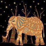 Wall Decor Decorative Elephant In Abstract Madhubani Style Printed Canvas