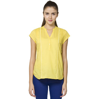 B Kind Women's  Yellow Mul Solid Top