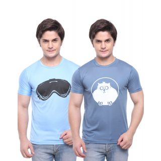 Purys Round Neck Dry Fit T-shirt Combo-Sky Blue & Gray