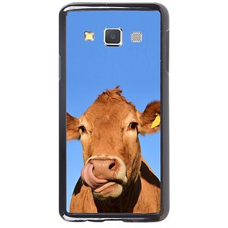 Fuson Designer Phone Back Case Cover Samsung Galaxy A7 ( Cow With Ear Tags )