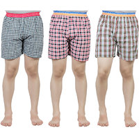 PSK Mens Multicolor Cotton Checkered Boxer(Pack of 3)