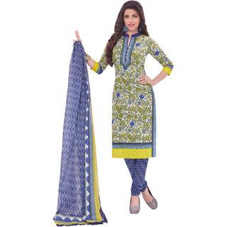 Pari Latest Fancy Green Kurta & Churidar Material Printed Cotton Dress Material (Unstitched)