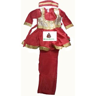 Kathak Classical Red Color Dance Costume For Kids