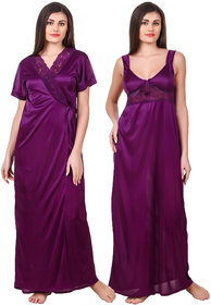 Fasense Satin 2 Pc Set of Nighty  Wrap Gown OM007