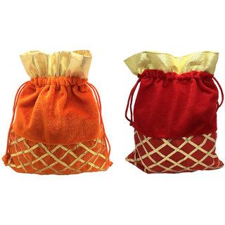 FashBlush Handmade Shagun Gift Pouch Potlis (Set Of 2)(Orange Gold Red)