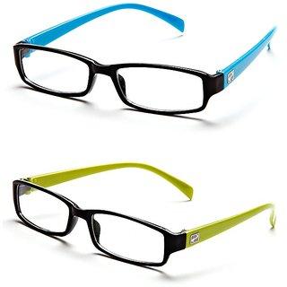 dd5224208f6 Buy Magjons Aqua And Green Rectangle Unisex Eyeglasses Frame set of 2 with  case Online - Get 75% Off