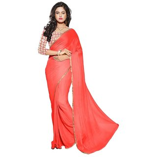 Saya Boutique Womens Orange Color Designer Plain Weaving Border Saree