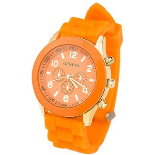 Geneva Round Dial Multi Rubber Strap Analog Watch For Women By HRV