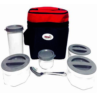 The Greens Meal-combo Lunch Box with 5 Microwave safe  Air Tight Containers  1 Spoon, Brand Himani