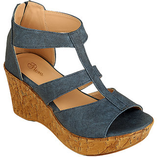Flora Women's Blue Wedges