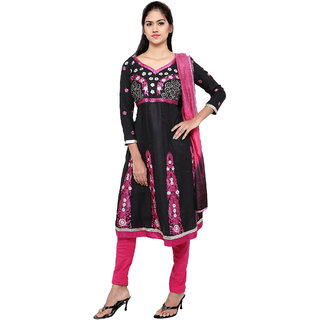 florence clothing company Black & Pink Chanderi Embroidered Saree With Blouse