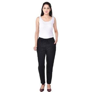 Vasavi Black Flat Plain Women's Trouser