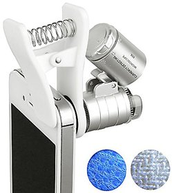 PIA INTERNATIONAL 60x Zoom Microscope Magnifier LED + Uv Light Clip-on Micro Lens for Universal Mobile Phones Universal Clamp for Iphone 7s Plus/7s/7/7plus/ 6 6s 6Plus/ 5 Samsun / HTC