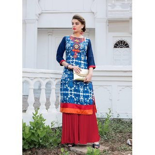 Dress in Mirror Work with Stictched Kurti and Plazo
