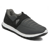 Asian Men Black And Gray Velcro Running Shoes