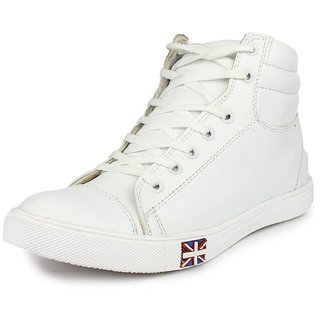 Blinder Men White Lace-up Boots
