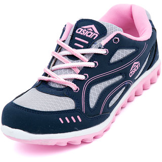 Asian Women Navy And Pink Lace-up Sports Shoes