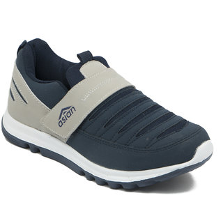 Asian Men Gray And Navy Velcro Running Shoes