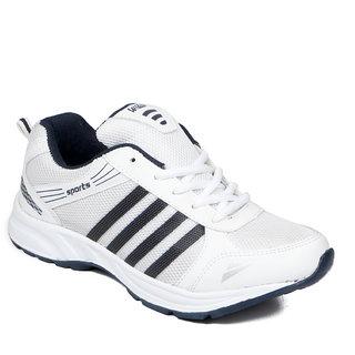 Asian Men White & Blue Lace-Up Training Shoes