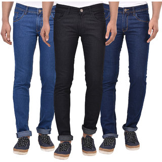 Stylox Men's Pack of 3  Slim Fit Blue Jeans