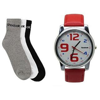Combo Of 3 Reebok Socks And Red Reebok Watch-reebads(free Shipping)