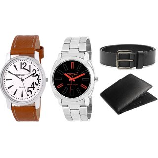 DCH WBIN-1.8 Pack Of 2 Designed Analogue Wrist Watch With Wallet And Belt For Boys And Men