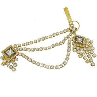 b6a4b042d My Design Gold Plated AD Stone Bridal Saree Pin Brooch Juda Kamarband For  Women And Girls