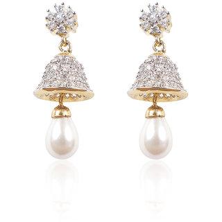 American Diamond Earrings With White Pearl