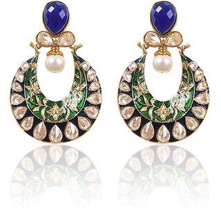 Rajwada Arts Fancy Chaandbali Earringss -Blue & Green Color