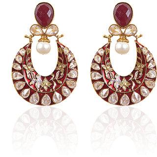 Rajwada Arts Fancy Chaandbali Earringss -Red Color