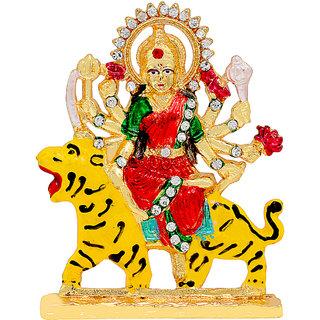 Memoir Brass Colourful Meenakari Durga Sherawali Mata Image idol stand