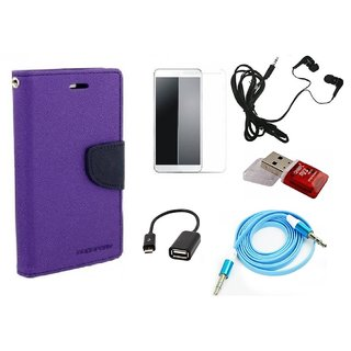 Poonam Purple Mercury Goospery Fancy Diary Wallet Flip Cover With Handfree,Tempered Glass,AUX Cable,Data Cable,Card Reader For HTC ONE E9S
